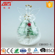 European style light up glass angel figurines with tree inside