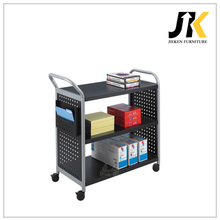 level shelf mobile moving metal service book cart with 4 wheels