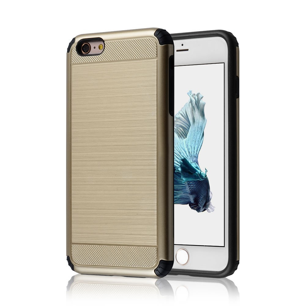 C&T Hard Cover Brushed Metal Texture Dual Layer Hybrid Armor Combo Shell for Apple iPhone 6 6S