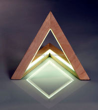 new arrive novelty stylish LED wooden table lamp triangle desk lamp