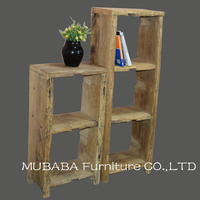 Antique Chinese rustic elm wood reproduction furniture art deco country bookshelf