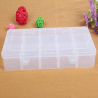 15 Compartments Hard Plastic Transparent Jewelry Storage Box Organizer with Removable Dividers