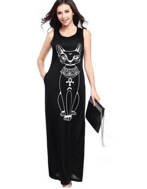 New fashion ladies long dress sleeveless women lady summer cat design maxi dresses