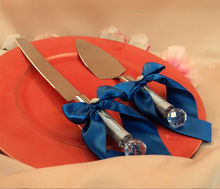 New product China Manufacturer Customizable Bow colors ,royal blue cobalt/silver grayCake Server Set