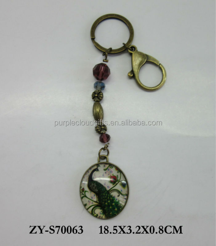 peacock glass keychain, vintage oval metal keychain , crysatl metal keyring