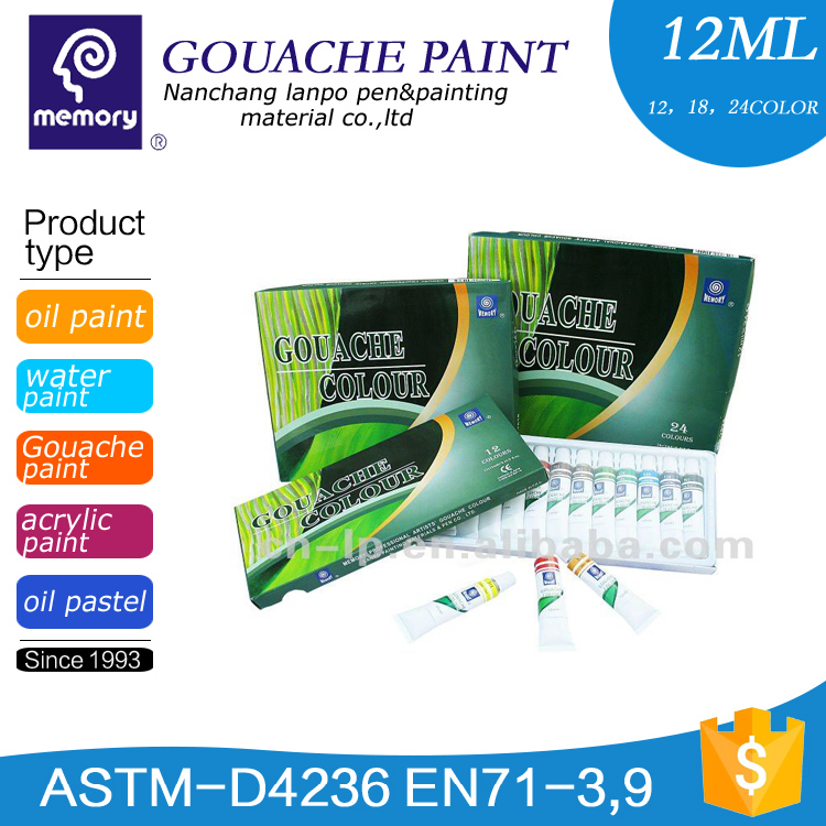 Memory high quality factory gouache paint low price temper paint