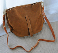 The Newest Design Unique Real Leather Bucket Bag Suede Cross-Body Bag with Long Strap