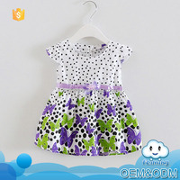 Hot popular new fashion design cotton cheap summer brand polka dot flower new model small girls baby dress pictures