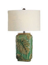 green artistic ceramic table lamp with white cylinder lampshade centerpiece Hawaii outdoor garden tropical style CE UL SAA ROHS