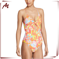 FLORAL PRINT SWIMSUIT FULLY LINED V-NECK SWIMSUIT HIGH CUT SEXY SWIMSUIT
