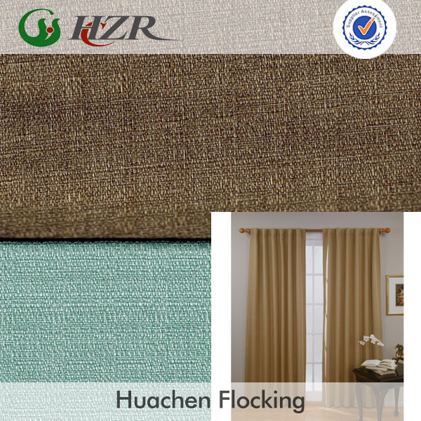 600D100% polyster 3 passes coated flocking Faux linen roman blind fabric curtain fabric water washing fabric