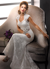 Hot sale cap sleeve appliqued lace cheap white mermaid wedding dresses CWFaw456