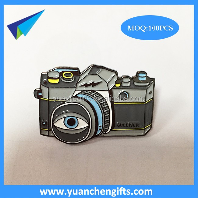 Camera shape lapel pins with full color enamel logo