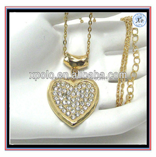 2016 Crystal metal hammered heart drop chain necklace for Mother 's day