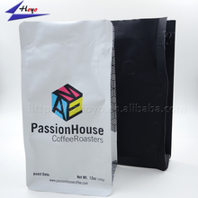 Matt finish plastic bag square gusseted packaging bags flat bottom 250g stand up aluminum zipper coffee bean pouch with valve