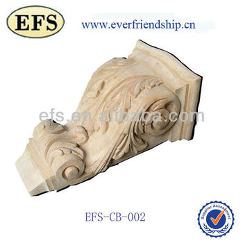 natural unfinished hand carving decorative wooden corbels (EFS-CB-002)