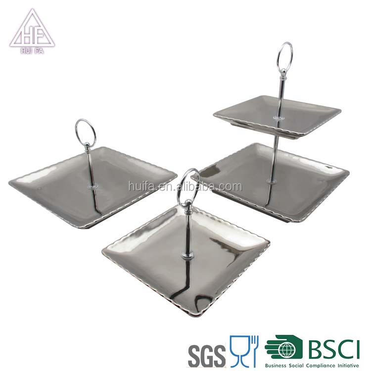 Best selling 3 tiers ceramic square silver stainless steel wedding cake plate
