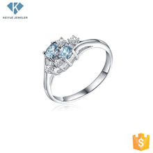 Custom jewelry china handmade 925 silver aquamarine CZ rings