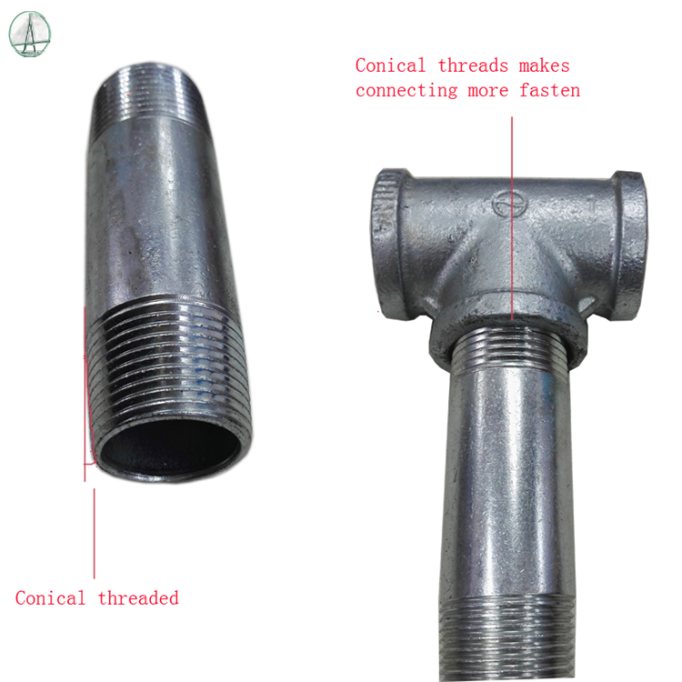 Double male carbon steel NPT threaded hot dipped galvanized sch 40 welded steel pipe nipple