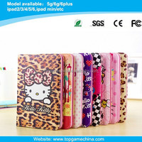 Hello kitty design leather case for ipad mini with Credit Card Slots & Holder