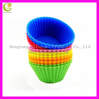 Colorful custom reusable silicone baking cups, FDA bpa free silicone cupcake liners, baking silicone cupcake mold wholesale