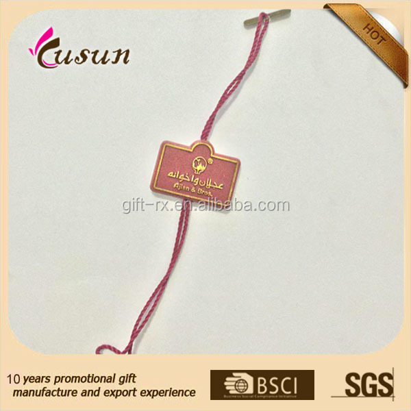China Custom plastic hang Print Price Tag Labels string for Clothes