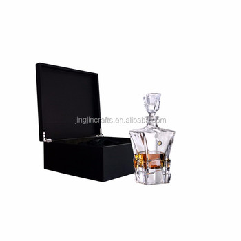 750ml glass ice crystal whiskey decanter whisky bottle with wood box
