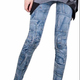 qq12 love words hollow out butterfly print seamless denim jean leggings for women