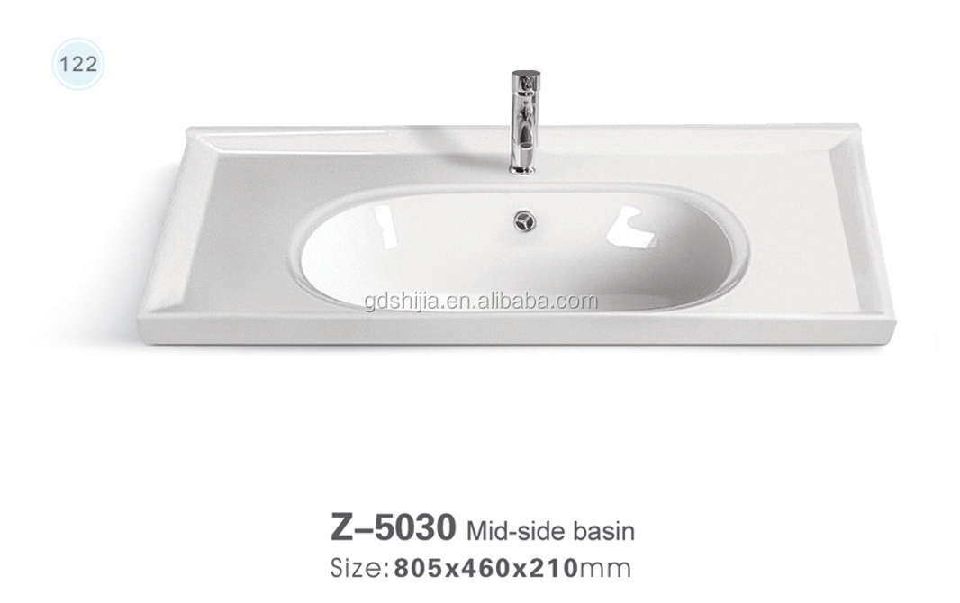 Z-5030 New design bathroom vanity cabinet sink ceramic counter mounted hand wash basin for sale