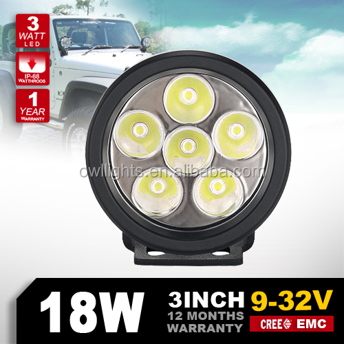 Trade Assurance Supplier 18W Spot Beam Led Working Light Bar IP68 DC10-30V Offroad Car SUV 4WD round Driving Working Lamp