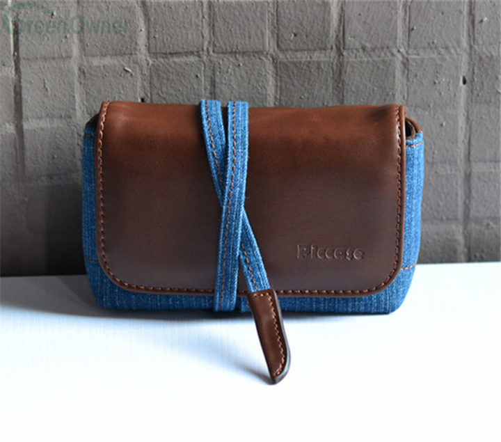 New Fashion portable leather easy carry leather jeans camera bag, camera case, camera pouch