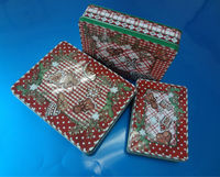 2013 new products 3 sets Christmas biscuits packaging tin box from tin can manufacturer in Dongguan China