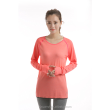 Newest Young Ladies Pink Sport T-shirt Latest Type Long Sleeve Top Wear Soft Fashion Seamless Sport Shirt
