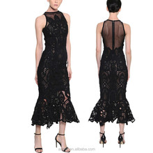 Dongguan wholesales new arrival anly apparel ladies fishtail lace sleeveless maxi designer one piece party dress