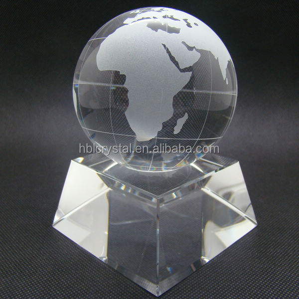 Fashion crystal globe with base, crystal trophy, crystal office decoration
