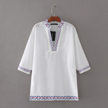 MS75174L Hot selling women linen embroidered t-shirts