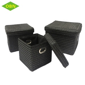 Wholesale China clothes storage box cheap price pp straw woven storage basket with cover
