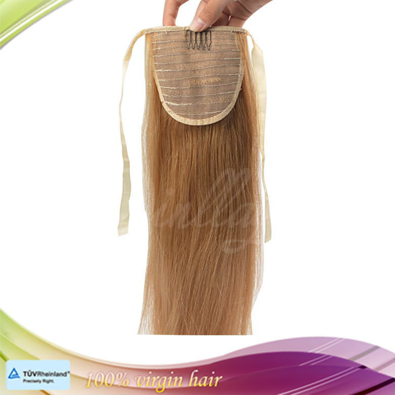 Hot selling full cuticle Peruvian virgin ponytail hair piece