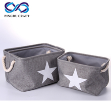 Colorful High Quality Bamboo And Canvas Storage Basket Box With Handles