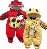 JYH-015 2015 wholesale fashion winter new pattern 100% cotton long sleeve thicken ladybug cow printed baby romper with cap shoes