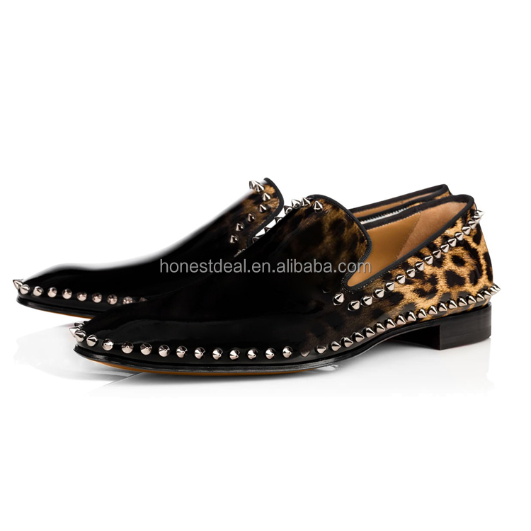 Hot buy women Leopard gradient prints Oxfords rivets loafer classic slip on casual flats shoes customize big size loafer