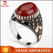 Latest Simple Fancy Models Men White Gold Plated Finger Big Gemstone Muslim Silver Ring