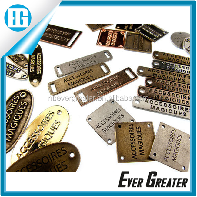 Custom metal bag label, handbag labels, designer metal labels for handbags