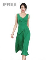 New arrival females sleeveless v-neck plain dyed flounced ladies office wear dresses