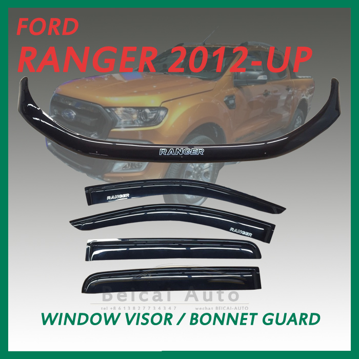 For FORD RANGER PX 2012-2015 dual Cab SET OF BONNET PROTECTOR & WEATHER SHIELDS