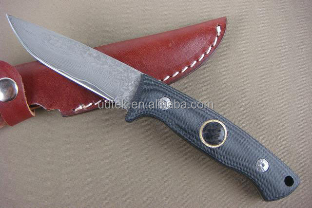 OEM Micarta handle Damascus steel camping knife for outdoor