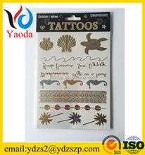 Eco-friendly flash gold metallic skin safe eye tattoo sticker temporary tattoo sticker