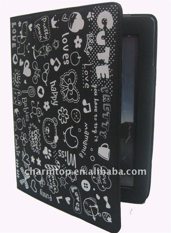 Black Stand Leather Case for iPad 2