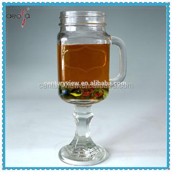 Clear drinking glass mason jar pedeseal handle with stem buy drinking mason jar handle clear - Stemmed mason jars ...