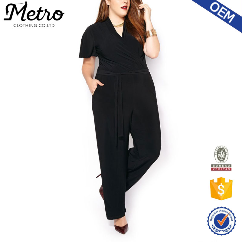 Fat women Crossover Jumpsuit Black oversize with polyester and spandex